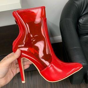 Red transparent bootie